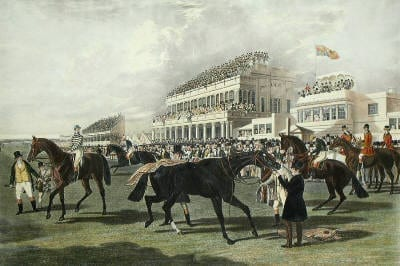 Ascot Grandstand - £670 - Framed size 113 x 93cm - Hand painted and printed from original plate